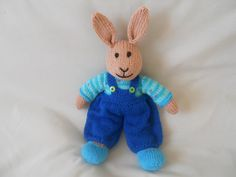 Hand Knitted Rabbit  Bob the Bunny Toy Rabbit Toy by littledazzler