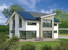 Außenansicht Haus Erlangen - Fertighaus WEISS - PlusEnergyHouse - Plusenergiehaus