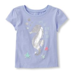 Baby Girls Toddler Short Sleeve 'Let's Go To The Seaside' Seahorse Graphic Tee - Purple T-Shirt - The Children's Place