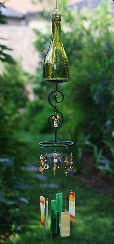 """Very unique stained glass wine bottle wind chime - """"Sundance"""""""