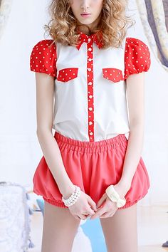Contrast Colored Dots Printing Sleeve and Collar Blouse