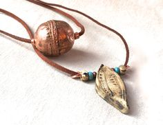 Rustic Feather Necklace, ceramic copper necklace tribal boho jewelry tribal…
