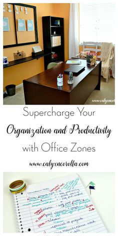 Improve your organization and productivity by changing your home office layout. Supercharge your organization and productivity by creating office zones! Home Office Layouts, Home Office Organization, Home Office Decor, Organization Hacks, Office Furniture, Organizing Tips, Office Designs, Organized Office, Organising