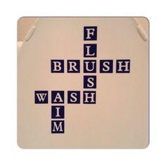 Bathroom Scrabble Words Vinyl Decal Custom Vinyl by DecalsEnFolie, $10.00