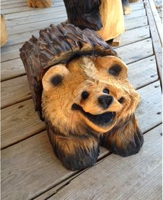 Cute Wood Bear in a Log Chainsaw Carving Rustic by crafts4all