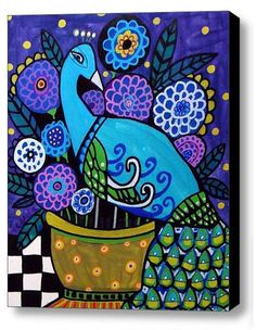 Peacock Painting - MADE TO ORDER - Original Painting on Canvas - Modern Abstract Blue Purple Flowers Gold. $400.00, via Etsy.