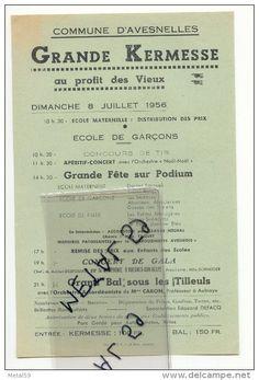 Avesnelles, Affichette Programme Kermesse 8 Juillet 1956 - Programmes