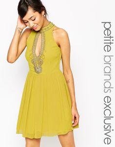 Maya Petite Embellished Prom Dress With Keyhole Neck