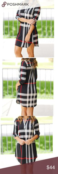 Plaid tunic dress Chic plaid tunic dress loose fit v neck 3/4 straps sleeves length S 34 M 34.5 L 35 bust S 18 M 19 L 20 PLEASE Use the Poshmark new option you can purchase and it will give you the option to pick the size you want ( all sizes are available) BUNDLE and save 10% ( no trades price is firm unless bundled) Dresses