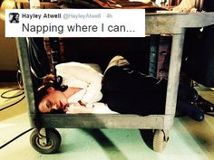 Hayley Atwell napping on the set of AGENT CARTER.