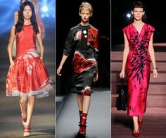 Springs Epic Blooms ABSTRACT FLORALS Flower prints this season are anything but average. Trade in demure mini buds for blown-up patterns in bold hues. (Red is a good bet.) When in doubt, look East--motifs at Prada and Miu Miu were Asian-inspired and elegant. Choose your favorite fleurs. Prabal Gurung, Prada, Miu Miu