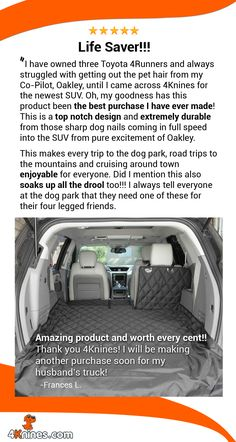 Thank you, Frances L., for your kind words! We love hearing stories like this about our 4Knines seat covers!
