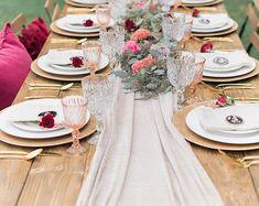 Nude Table Runner | Silk Chiffon Runner | Wedding Table Runner | Silk Runner  | Silk
