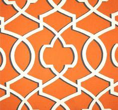 Orange & Grey Modern Geometric Home Decor Fabric by the Yard, Designer Drapery or Upholstery Fabric, Orange Cotton Home Decor Fabric R120