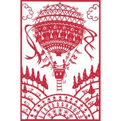 "Balloon Ride papercut - 10"" x 8"" print - Folksy"