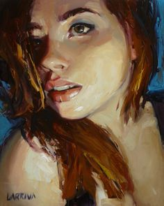 """""""Lean In"""" by John Larriva. 10 x 8 inches, oil on hardboard. Reference comes from Viktoria Martsun."""