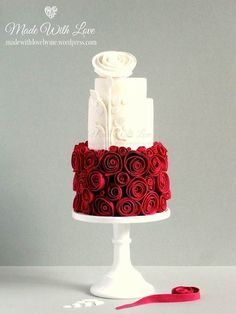 White with red roses
