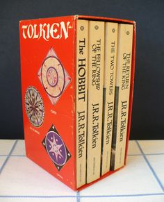 YES!  Vintage boxed set of Tolkien books with awesome runic designs on the case.