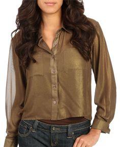 Long Metallic Coated Shirt - Dressy Tops
