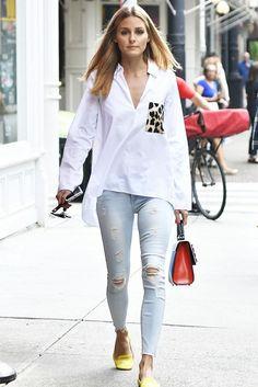 Olivia Palermo wearing Black Orchid Noah Jeans in Lovebug, Les Petits Joueurs Mini Alex Prospect Bag and Zara Poplin Leopard Pocket Shirt