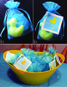 Favors at a Rubber Ducky Baby Shower   These would match the punch and we can do bags in her colors.