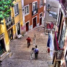 Streets of Alfama. Lisbon, Portugal Memories of drinking and a close call with an ATM being smarter than the human. Visit Portugal, Portugal Travel, Spain And Portugal, Algarve, Oh The Places You'll Go, Places To Travel, Places To Visit, Europe Places, Magic Places