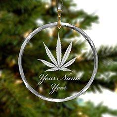 Personalized Round Glass Christmas Ornament - Marijuana Leaf
