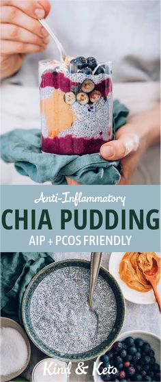 AIP & PCOS friendly Pudding for breakfast!? We kid you not. And this isn't just any pudding – this is a Dairy-free, Gluten-free pudding that will have you licking the bowls for every last delicious drop of goodness. Starting your day with a bowl of berry delightful vegan keto blueberry chia breakfast pudding is the best way to guarantee that your day goes from great to greater. #aiprecipes #womenshealth #pcosdiet #aip #rawvegan #veganfoodshare #veganlife #govegan #crueltyfree