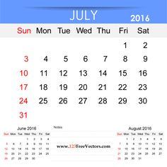 Free Download July 2016 Calendar Printable Template Vector Illustration. Can be used for business, corporate office, education, home etc.Free Editable Monthly Calendar July 2016 available in Adobe Illustrator Ai