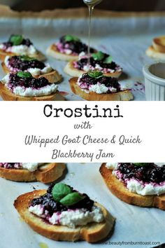 Entertaining doesn't have to be complicated. With these easy crostini with whipped goat cheese and blackberry jam you can have a crowd pleasing appetizer on the table in 10 minutes, start to finish. Even better, they are beautiful, full of summer berry go Bite Size Appetizers, Elegant Appetizers, Finger Food Appetizers, Appetizers For Party, Appetizer Recipes, Cold Appetizers, Recipes Dinner, Whipped Goat Cheese, Clean Eating Snacks