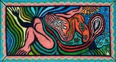 """Judy Chicago, <i>Creation of the World</i> Silkscreen and embroidery over drawing on fabric, 23 x 40 in. Embroidery by Merrily Rush Whitaker. Loan courtesy of Albuquerque Museum; Gift of """"Through The Flower"""" Albuquerque Museum, Judy Chicago, Fiber Art, Weaving, Presents, Textiles, Artists, Embroidery, Female"""