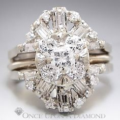 1.25ctw Round & Baguette Diamond Cluster Engagement Ring Guard Set 14K, $1195.00