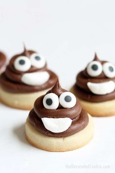 poop emoji cookies, mini cookies for an emoji party
