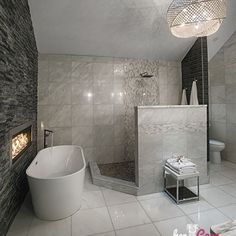 H5guest bathh5pbianco carrara marble tile p her cave custom master bath featuring an open shower and floor to ceiling x white carrara tile accented with contrasting charcoal quartzite and glacier marble ppazfo