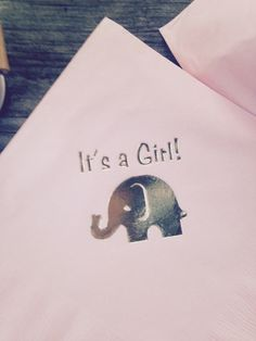 Pink and gold!  Baby shower napkins with metallic gold elephants.  It's a Girl!