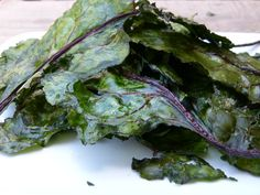 """Beet Green Crisps -- """"my new favorite snack!"""" Very healthy- just the greens, coconut oil, and a little sea salt!"""