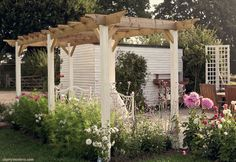 perfect pergola. white paint/natural wood