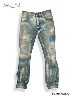 These jeans have a very exclusive finish. They are completely hand crafted and feature hand sanding, grinding, destruction, and decorative patches throughout. There is a very unique color contrast and every piece will have a slight variation as they are all made to order. It is made of premium quality selvage denim and tailored for superb comfort and durability.