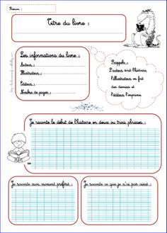 Fiche de lecture ( à adapter pour la classe de Français 1) French Teacher, Teaching French, French Classroom, Book Study, Teacher Organization, Writing Advice, Writing Practice, Teaching Materials, Learn French