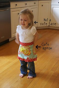 easy tutorial for cute little apron :0) Also showed how to do a ruffled ribbon - EASY!
