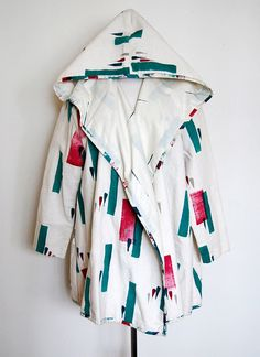 Hand Painted 1980s 80s PLAY ALEGRA Avant Garde Canvas Hooded Coat Jacket Cocoon. $36.00, via Etsy.