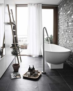This gorgeous bathroom at dear Look at the wall, the view , of course the bathtub and everything else - Thank you sweet Jeanett for joining my sfs - - Interior Styling, Interior Design, Nordic Home, Photo Instagram, Scandinavian Interior, Clawfoot Bathtub, Beautiful Interiors, Decoration, Interior Inspiration