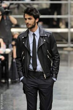 this look // // leather jacket, tie, pinstripe pants with www. Leather Jacket Outfits, Men's Leather Jacket, Leather Men, Jacket Men, Custom Leather, Jacket Style, Black Leather Jackets, Riders Jacket, Lambskin Leather