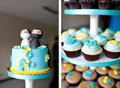 bright yellow and teal wedding (adorable cake toppers. except that bride needs to be dressed as a pirate! Diy Wedding, Wedding Cakes, Dream Wedding, Wedding Ideas, Got Married, Getting Married, Gray Weddings, Bright Yellow, Maid Of Honor