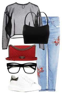 Untitled #53 by franciscanunes on Polyvore featuring polyvore moda style Yves Saint Laurent Citizens of Humanity Alexander McQueen Chanel ZeroUV fashion clothing