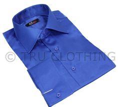 Mens Italian Design Royal Blue Silk Satin Finish Shirt Smart Slim Fit