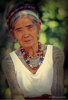 This is Whang Od, the last tattoo artist in the Kalinga. Pilippines