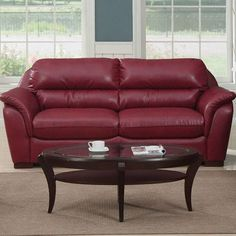 """Tiffany Bonded Leather Living Room Collection by Emerald Home Furnishings. $647.99. Finish: Red. 36""""""""W x 90""""""""H x 38""""""""D. U1084-00-02 Features: -Covered in red bonded leather.-Solid wood frame.-Tight seat and back cushions.-Pad over arms.-Pocket coil seat cushions. Specifications: -8 Way hand tied springs. Collection: -Tiffany collection."""
