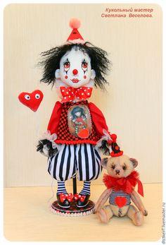 Купить авторская кукла Клоун - чёрно-белый, авторская кукла, коллекционная…