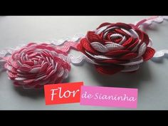 20120409 BORDADO DE SIANINHA E FITAS 1 1 - YouTube Ribbon Crafts, Flower Crafts, Ribbon Bows, Embroidery Techniques, Embroidery Stitches, Hand Embroidery, Crochet Cactus, Crochet Lace, Diy And Crafts